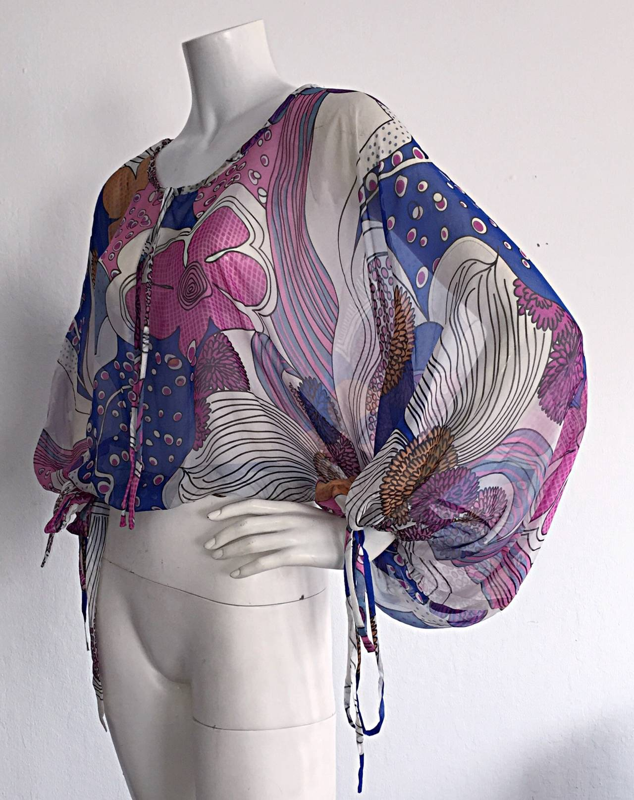Amazing Vintage Kenzo Colorful ' Flower Power ' Drawstring Boho Top / Blouse In Excellent Condition For Sale In San Francisco, CA