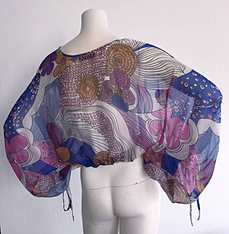 Women's Amazing Vintage Kenzo Colorful ' Flower Power ' Drawstring Boho Top / Blouse For Sale