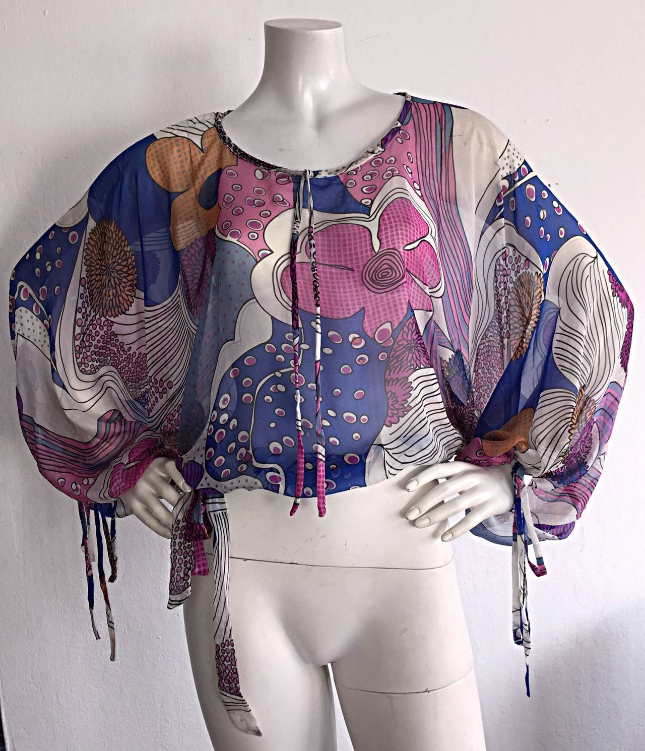 Amazing Vintage Kenzo Colorful ' Flower Power ' Drawstring Boho Top / Blouse For Sale 3