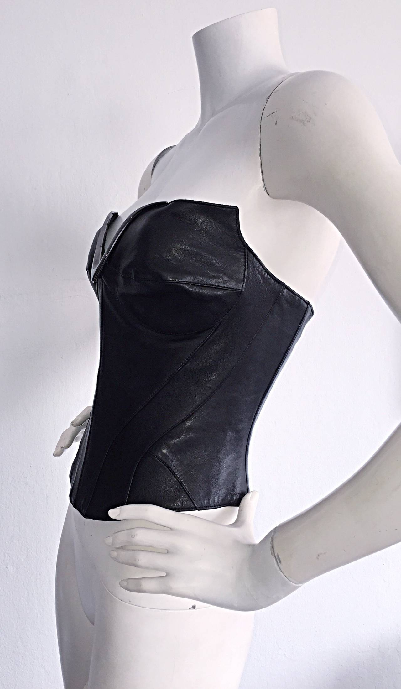 Iconic Vintage Thierry Mugler Couture Black Leather Space Age Corset Bustier For Sale 2
