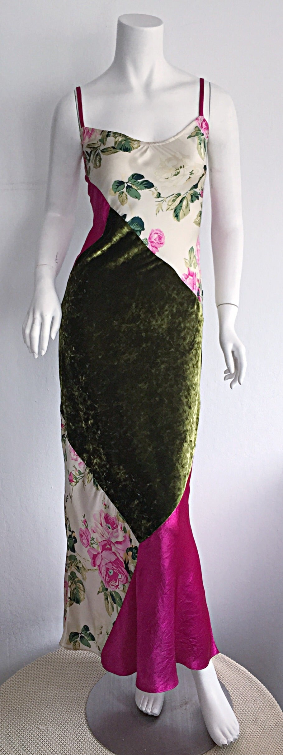 Beautiful 1990s Roberto Cavalli Floral Patchwork Pink + Green Silk Slip Dress 2