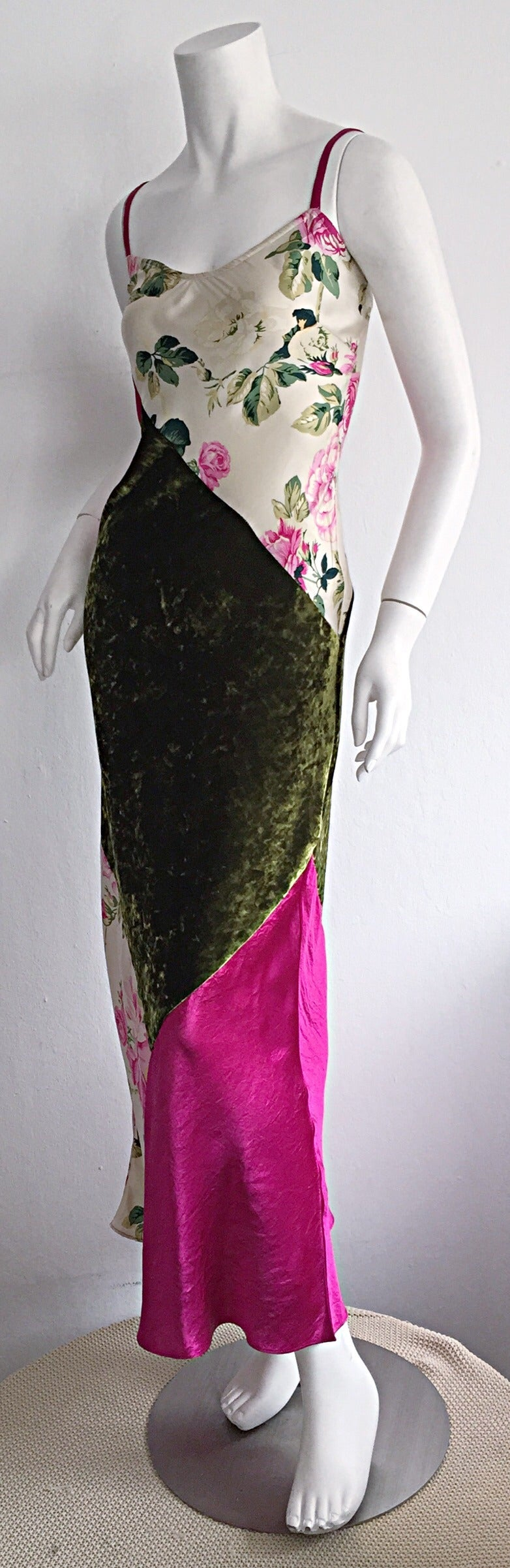 Beautiful 1990s Roberto Cavalli Floral Patchwork Pink + Green Silk Slip Dress 3