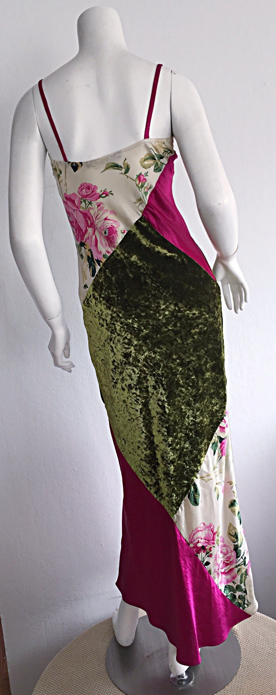 Beautiful 1990s Roberto Cavalli Floral Patchwork Pink + Green Silk Slip Dress 4