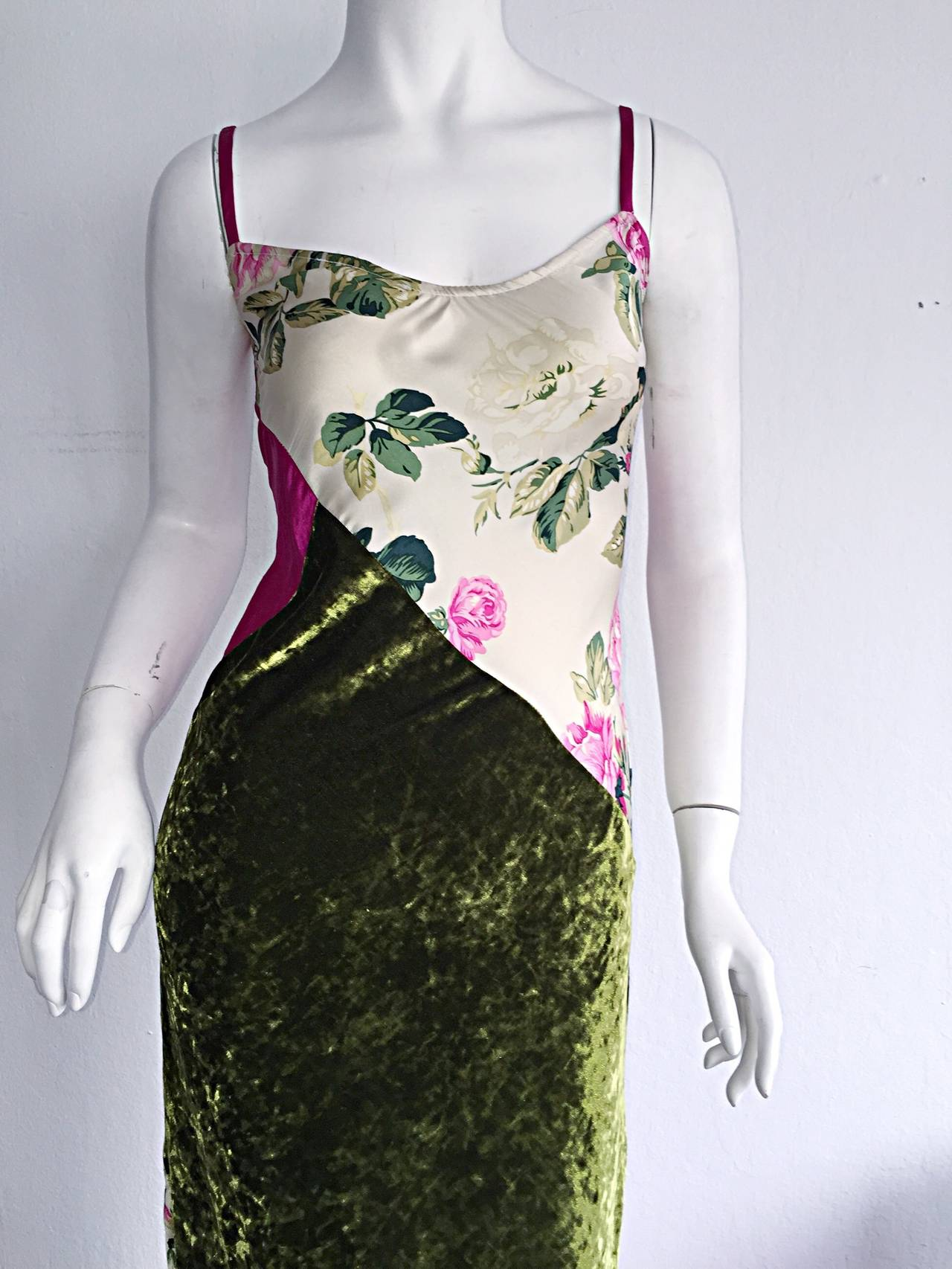 Beautiful 1990s Roberto Cavalli Floral Patchwork Pink + Green Silk Slip Dress 5