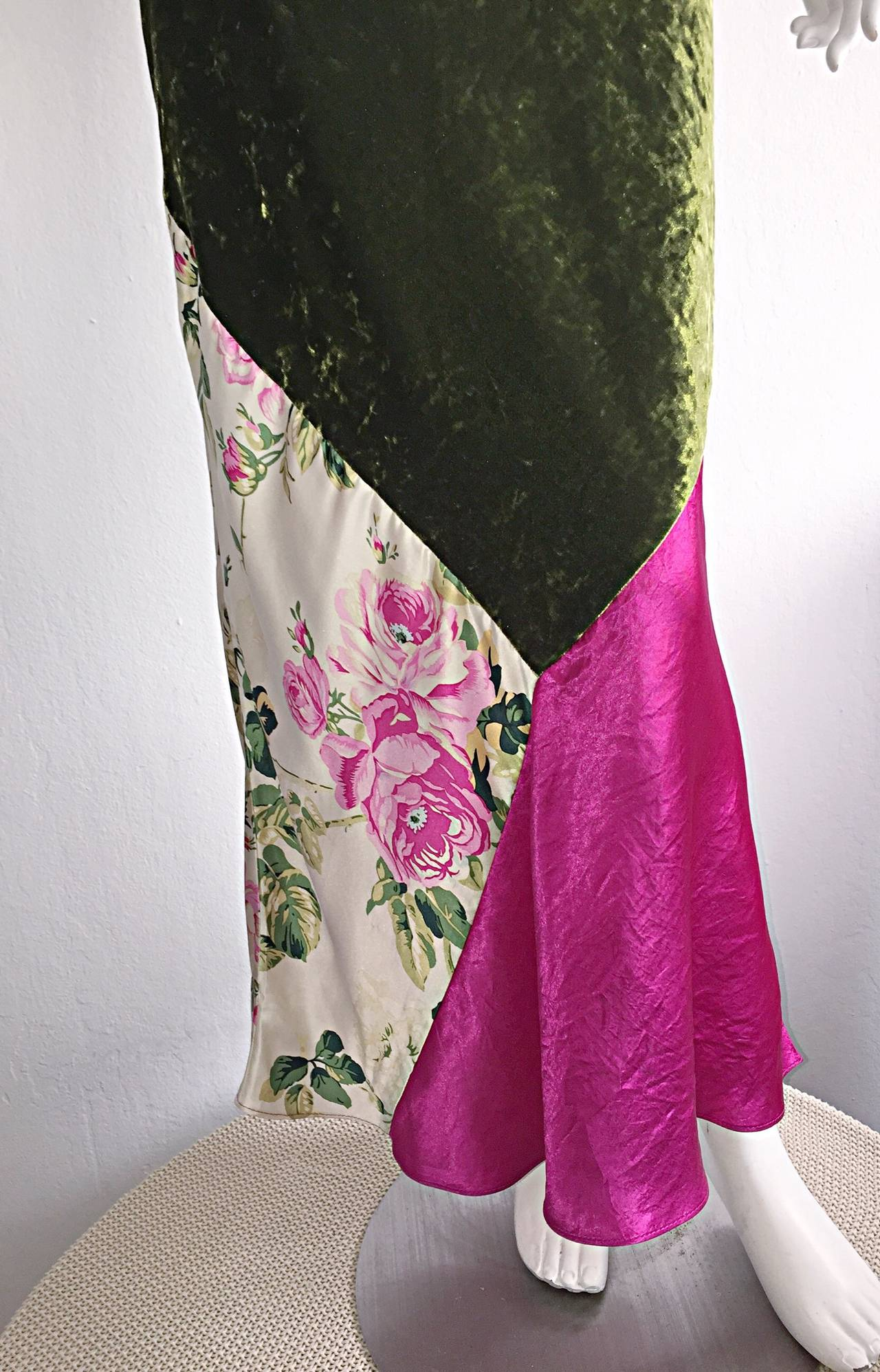Beautiful 1990s Roberto Cavalli Floral Patchwork Pink + Green Silk Slip Dress 6