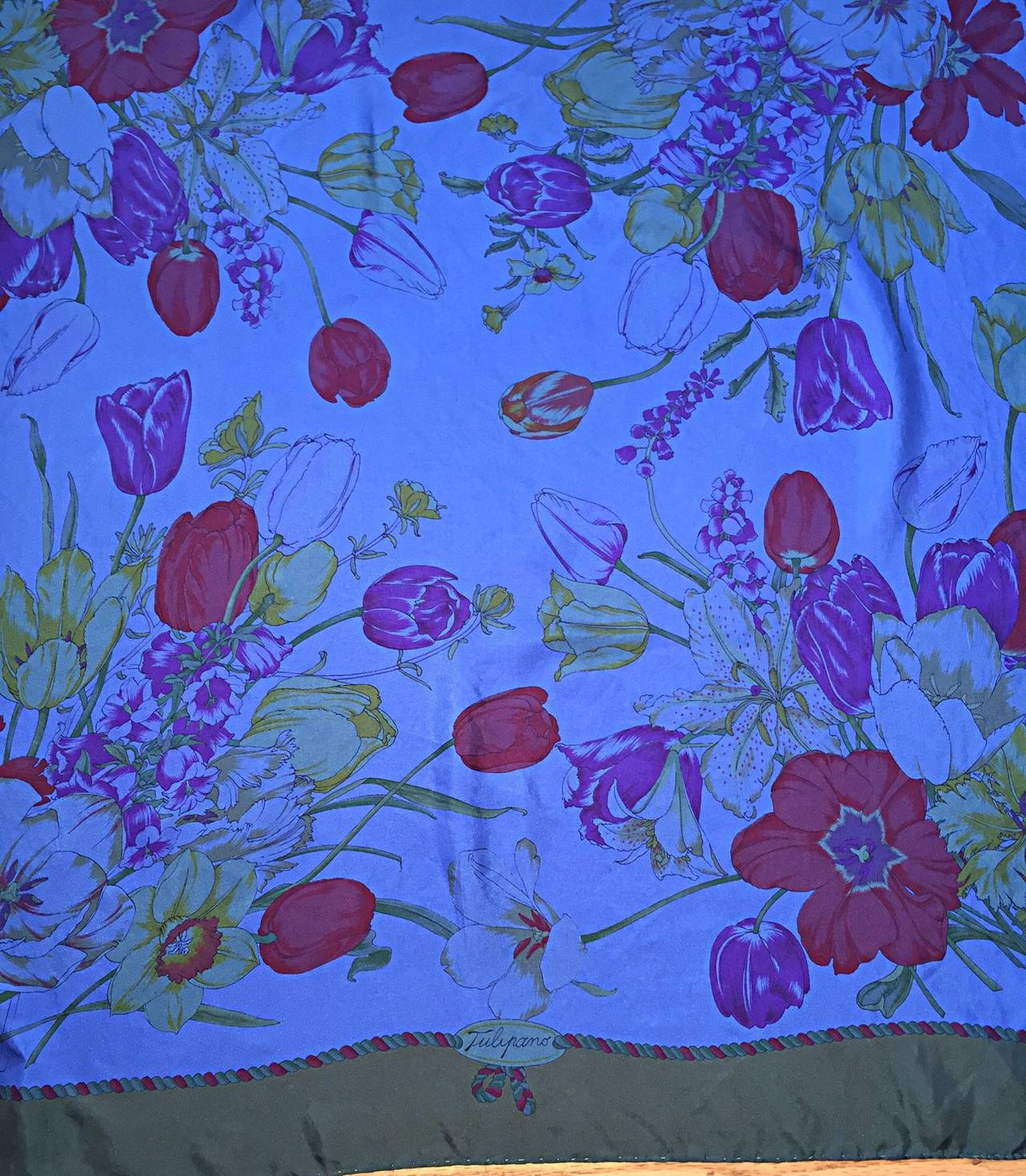 Gray Beautiful Vintage Gucci Tulipano Blue Flower Tulip Print Large 1970s Silk Scarf For Sale