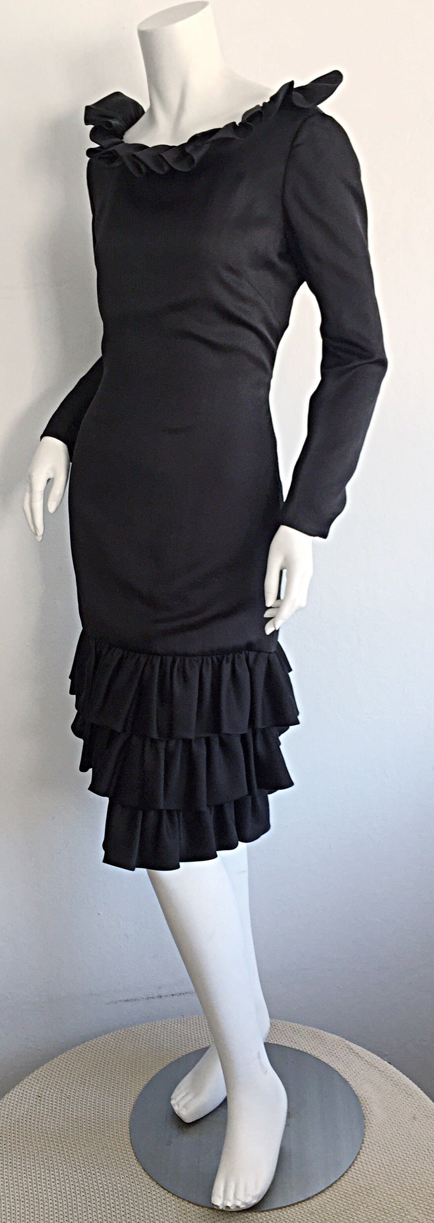 1960s 60s Adele Simpson Black Silk Drop Waist Tiered Ruffle Long Sleeve Dress In Excellent Condition For Sale In Chicago, IL