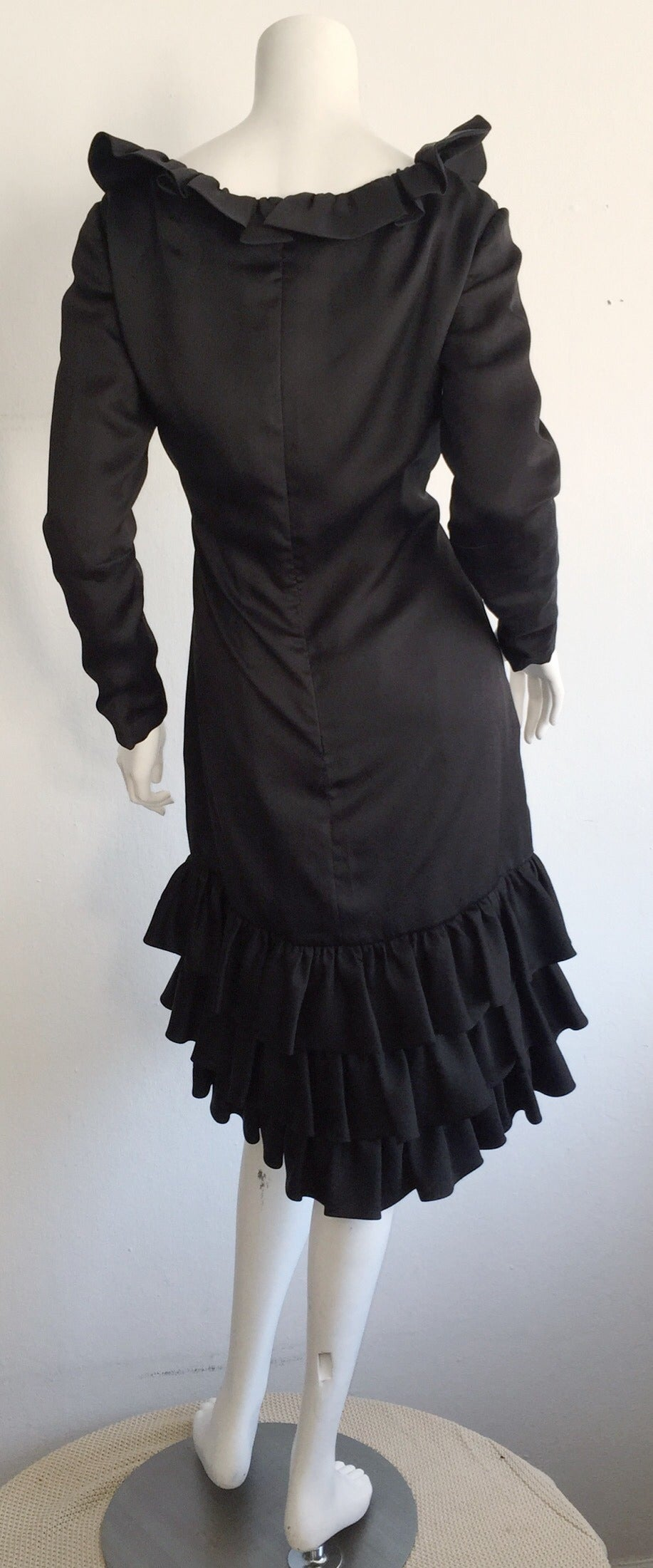 Women's 1960s 60s Adele Simpson Black Silk Drop Waist Tiered Ruffle Long Sleeve Dress For Sale