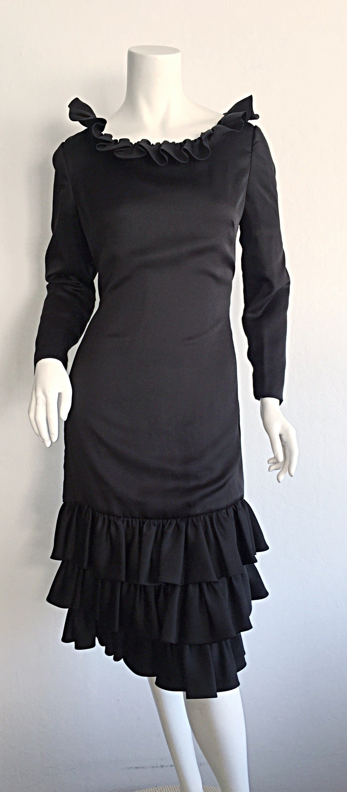 1960s 60s Adele Simpson Black Silk Drop Waist Tiered Ruffle Long Sleeve Dress For Sale 1