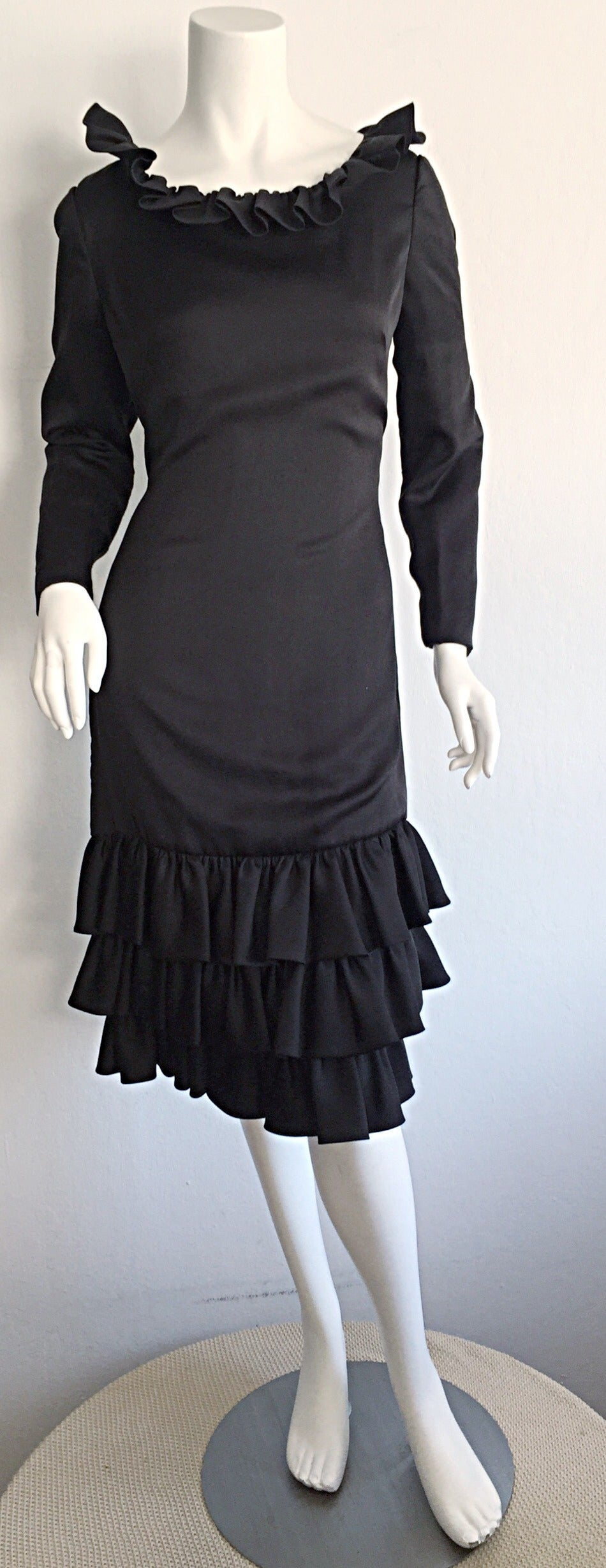 1960s 60s Adele Simpson Black Silk Drop Waist Tiered Ruffle Long Sleeve Dress For Sale 2