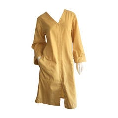 Vintage Yves Saint Laurent ' Rive Gauche ' Yellow Cotton Tunic Dress YSL