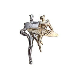 1960s 60s Vintage Pierre Cardin Modernist Gold + Silver Two Tone Large Brooch