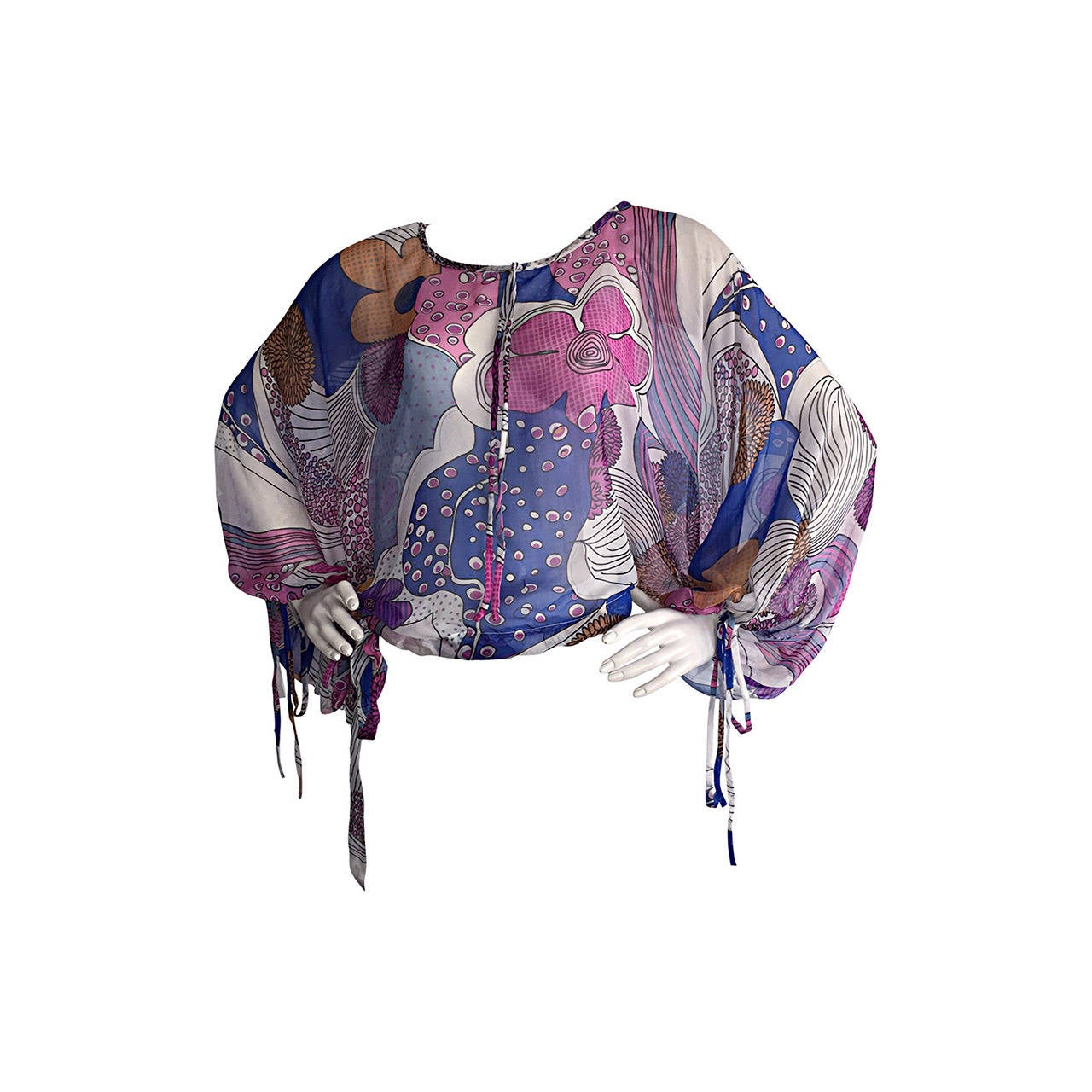 Amazing Vintage Kenzo Colorful ' Flower Power ' Drawstring Boho Top / Blouse For Sale