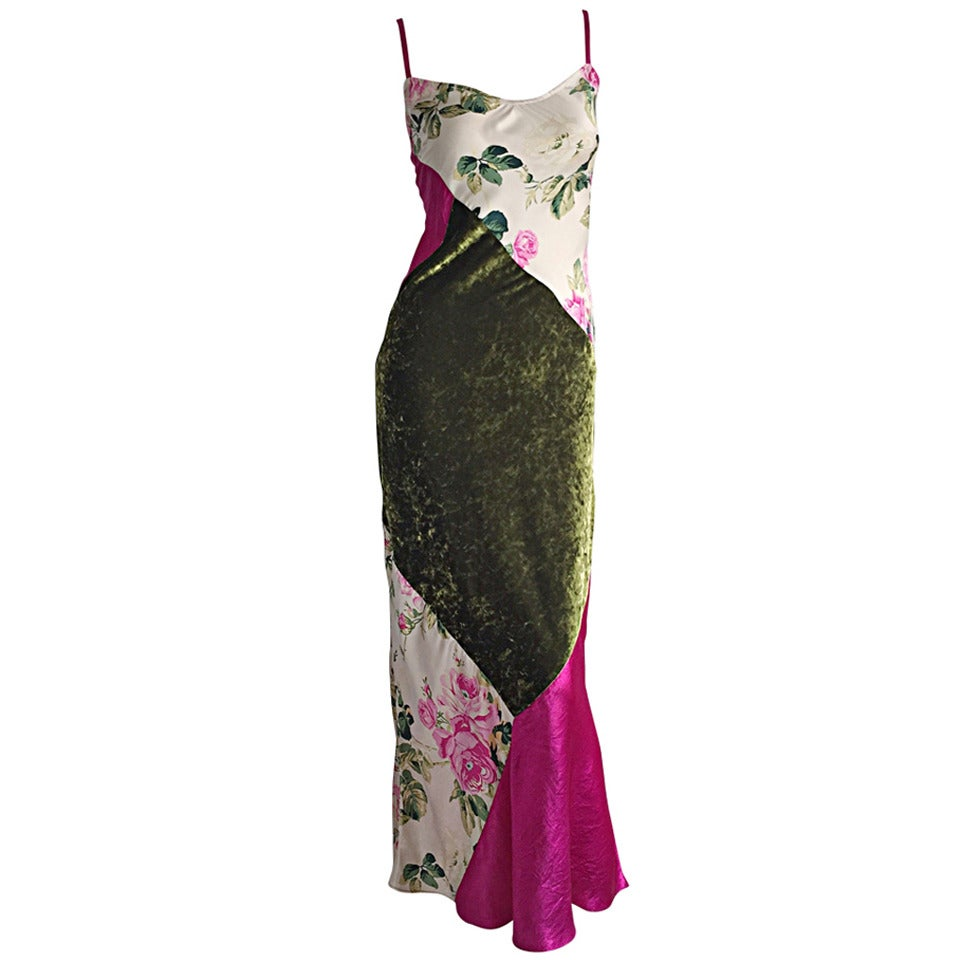 Beautiful 1990s Roberto Cavalli Floral Patchwork Pink + Green Silk Slip Dress