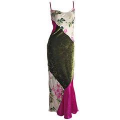 Beautiful 1990s Roberto Cavalli Floral Patchwork Pink + Green Silk Slip Dress