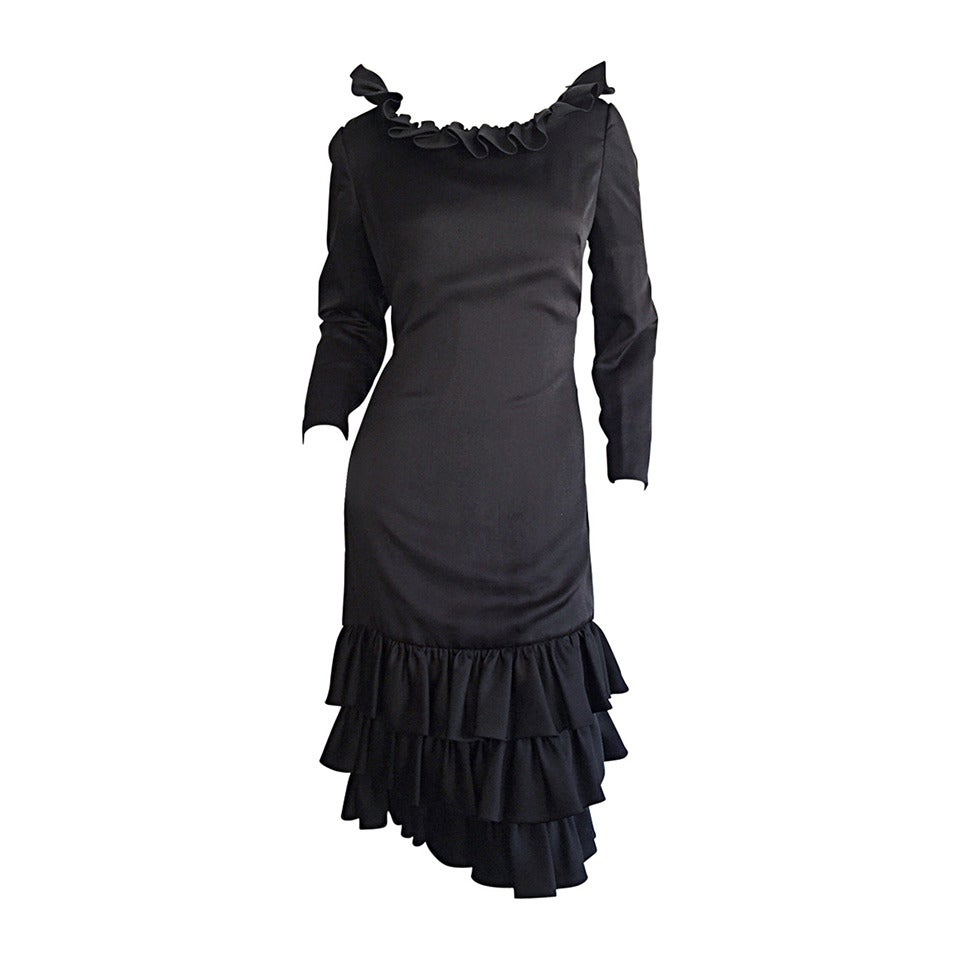 1960s 60s Adele Simpson Black Silk Drop Waist Tiered Ruffle Long Sleeve Dress For Sale