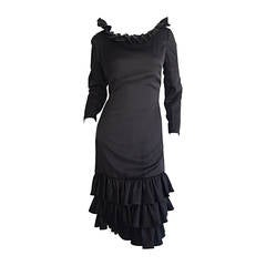 1960s 60s Adele Simpson Black Silk Drop Waist Tiered Ruffle Long Sleeve Dress