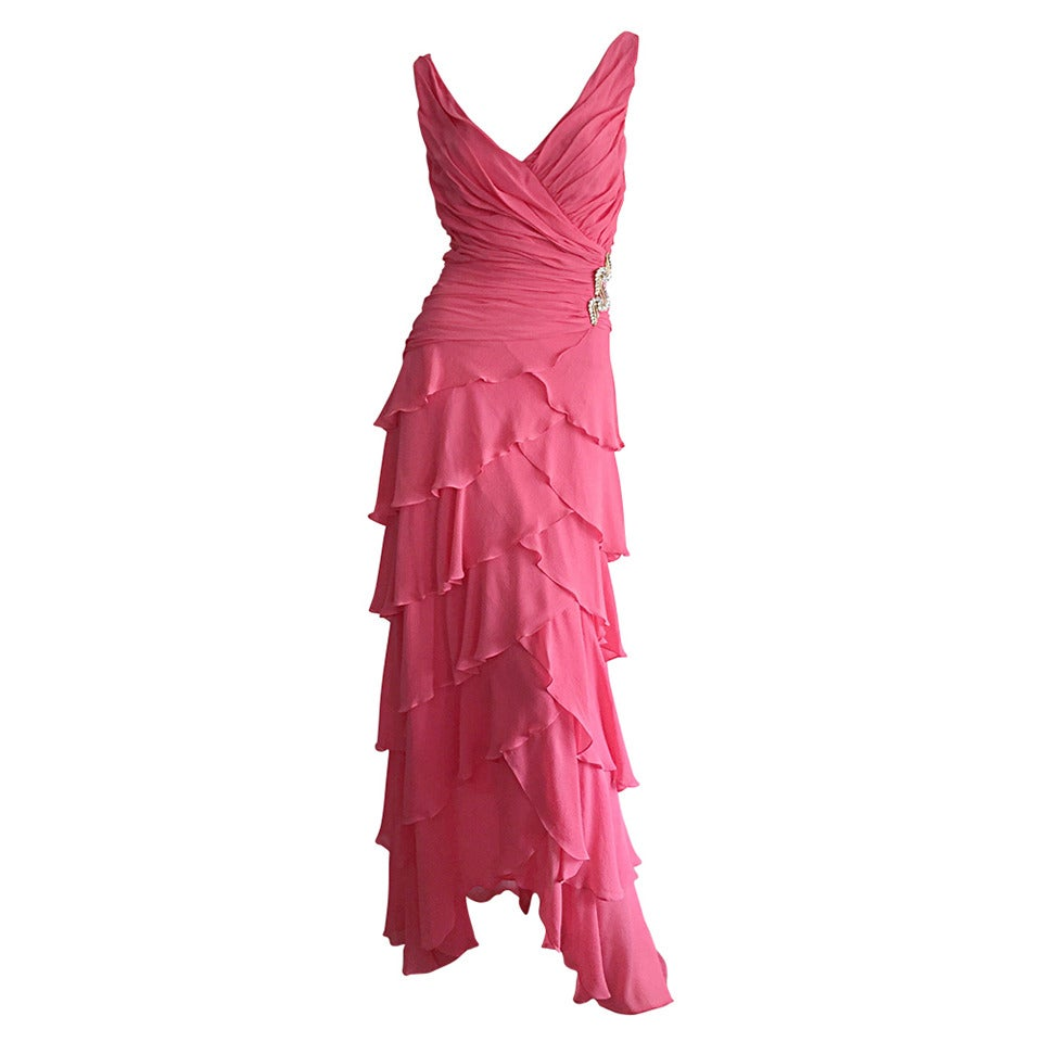 Beautiful 1990s Vintage Tadashi Shoji Pink Silk Chiffon Tiered Dress For Sale