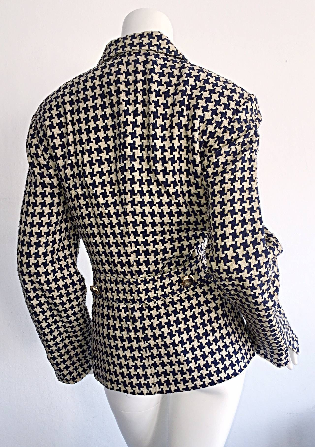 Vintage Christian Dior Navy Ivory Houndstooth Nautical