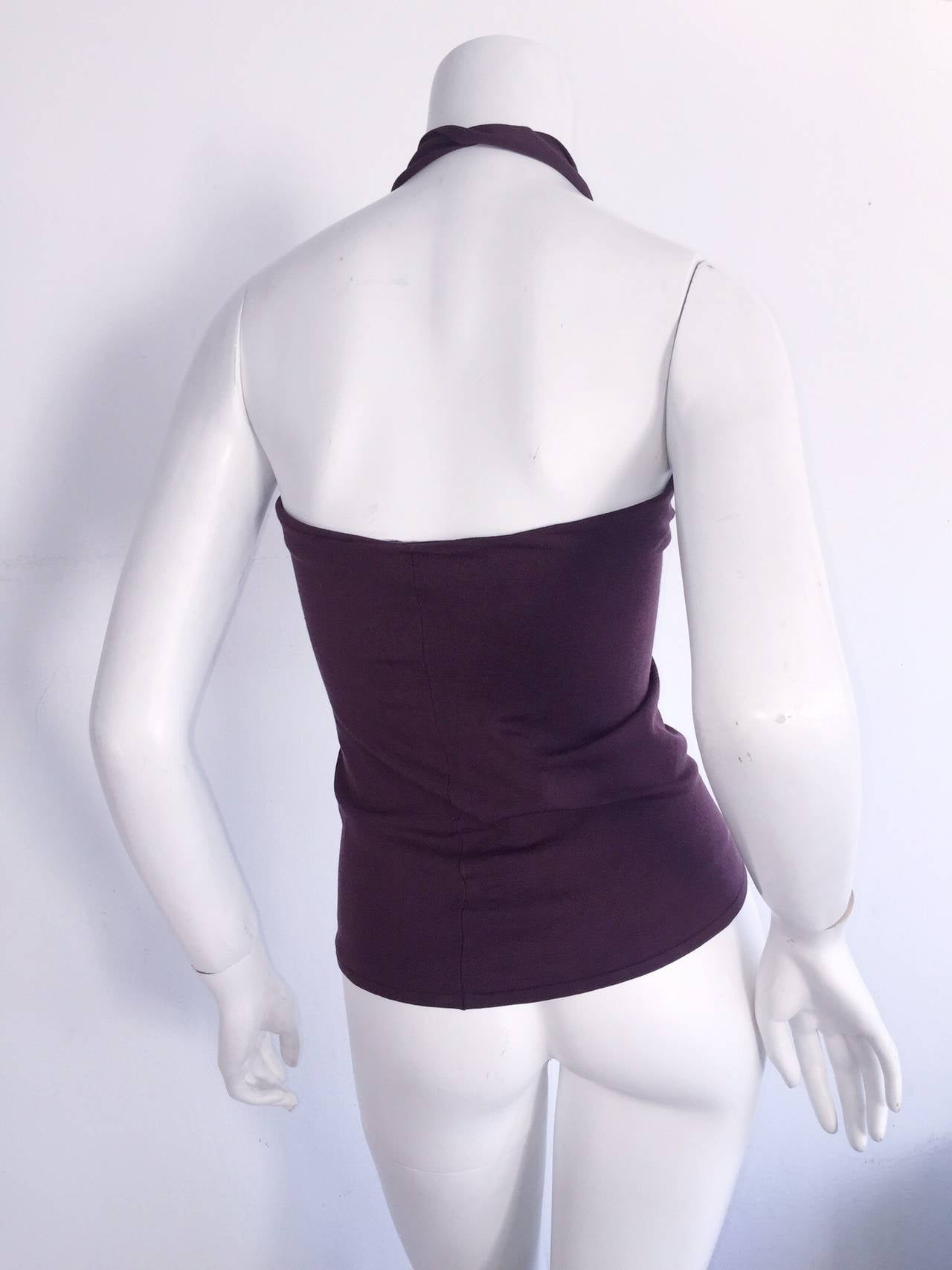 1990s Yves Saint Laurent ' Rive Gauche ' BodCon Burgundy Silk Halter Top In Excellent Condition For Sale In Chicago, IL