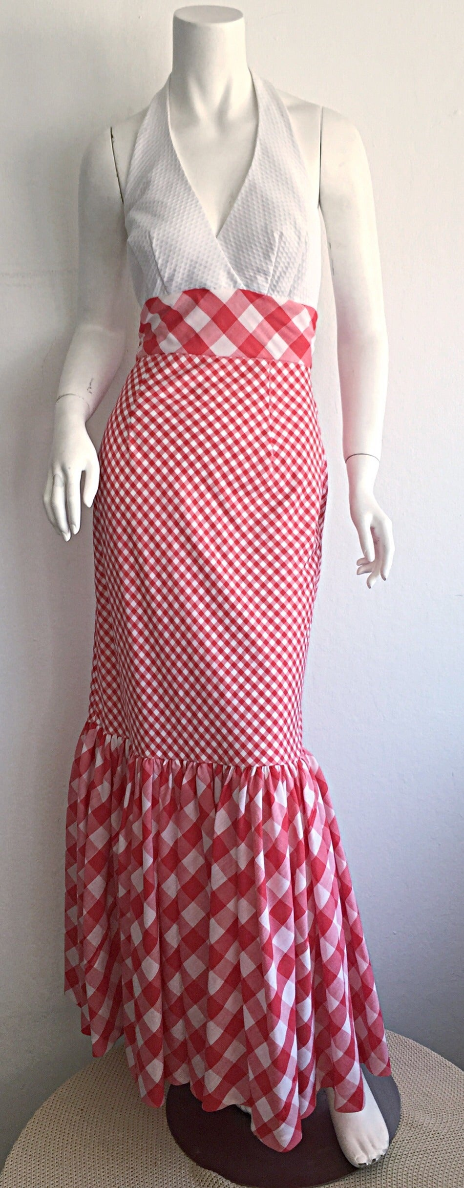 Amazing 1970s red and white plaid cotton halter maxi dress! White honeycomb fabric on bodice, with a full red+white plaid cotton skirt. Mermaid ruffle hem. Looks beautiful on. Perfect with sandals or wedges (and denim jacket) for day, or stunning