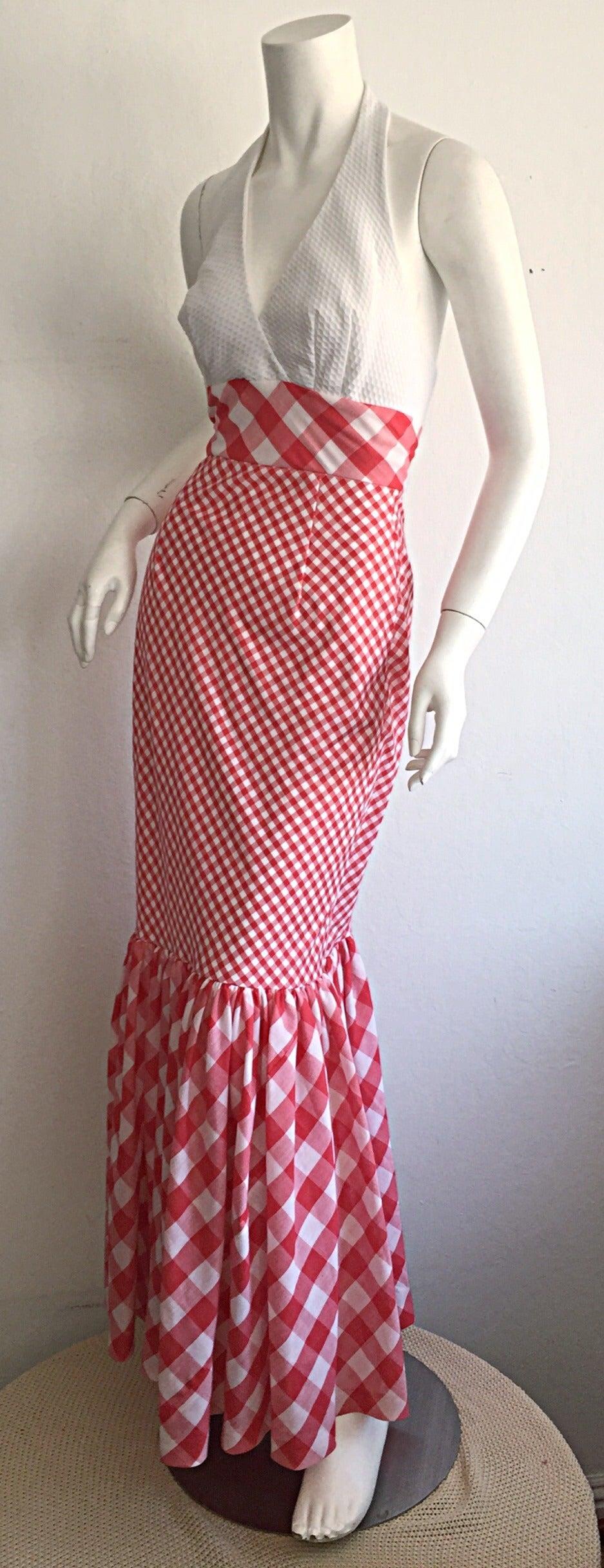 Vintage 1970s Red + White ' Picnic Table ' Plaid Cotton Halter Maxi Dress 3