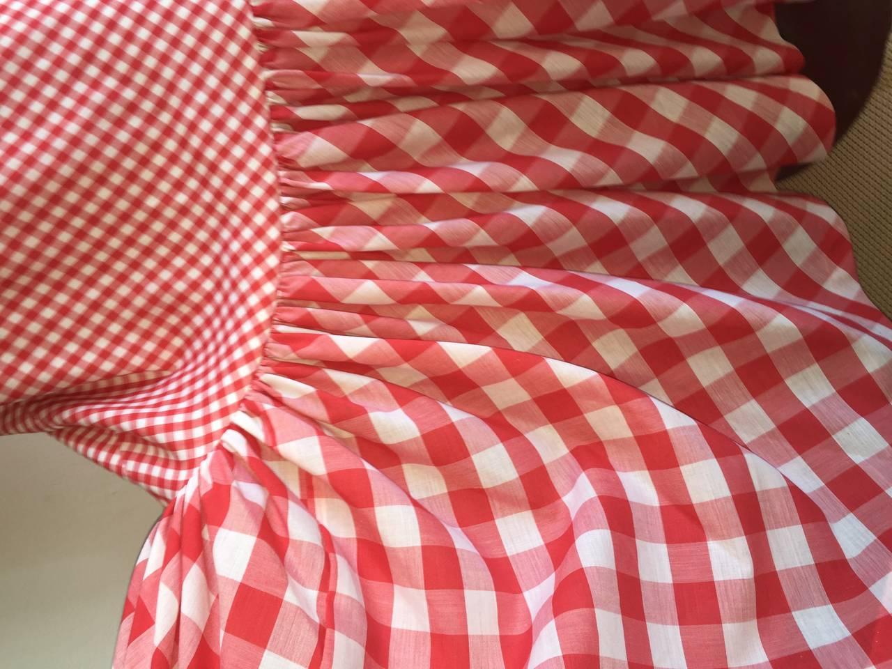 Vintage 1970s Red + White ' Picnic Table ' Plaid Cotton Halter Maxi Dress 6