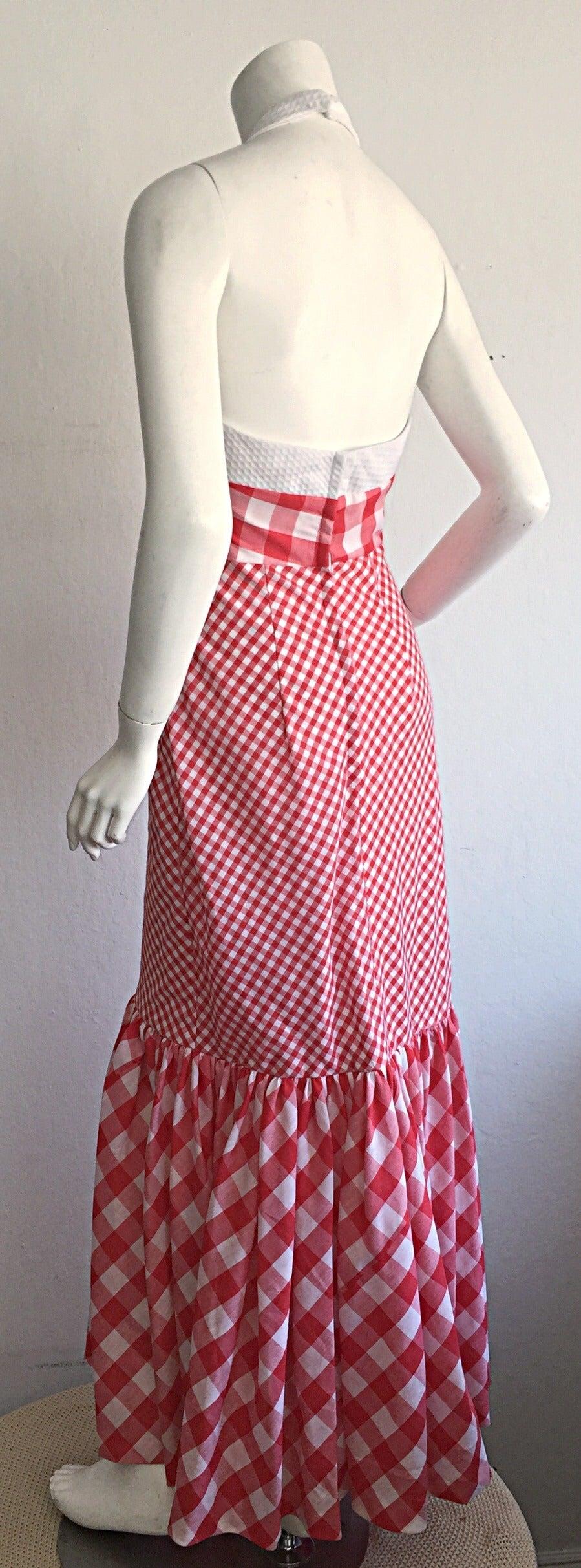 Vintage 1970s Red + White ' Picnic Table ' Plaid Cotton Halter Maxi Dress For Sale 3