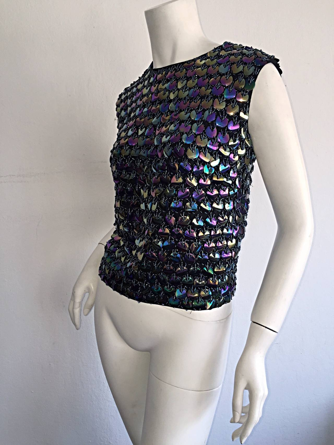 Black Fabulous 1950s Gene Shelly's Fully Beaded Iridescent Paillettes Silk Blouse Top For Sale