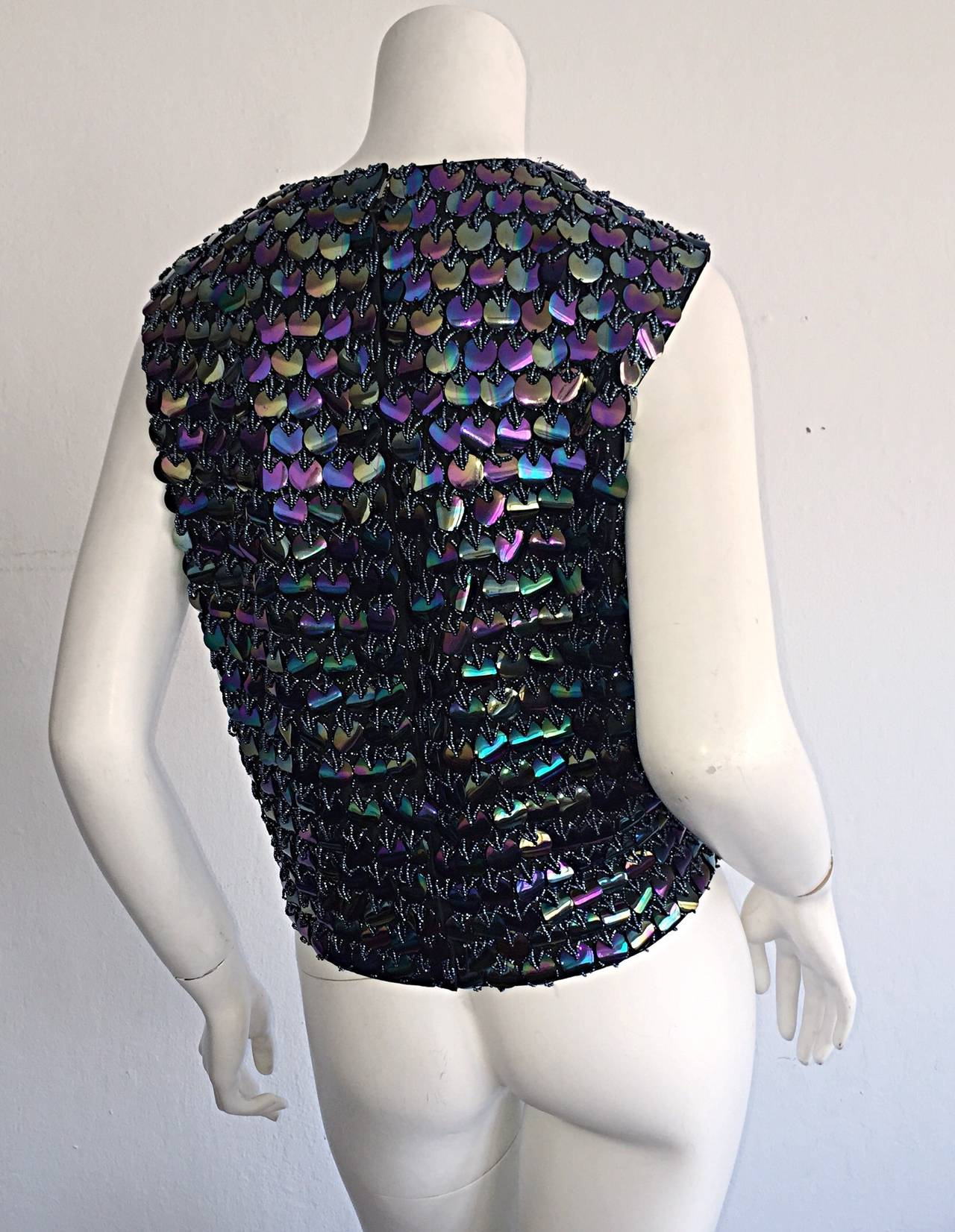 Women's Fabulous 1950s Gene Shelly's Fully Beaded Iridescent Paillettes Silk Blouse Top For Sale
