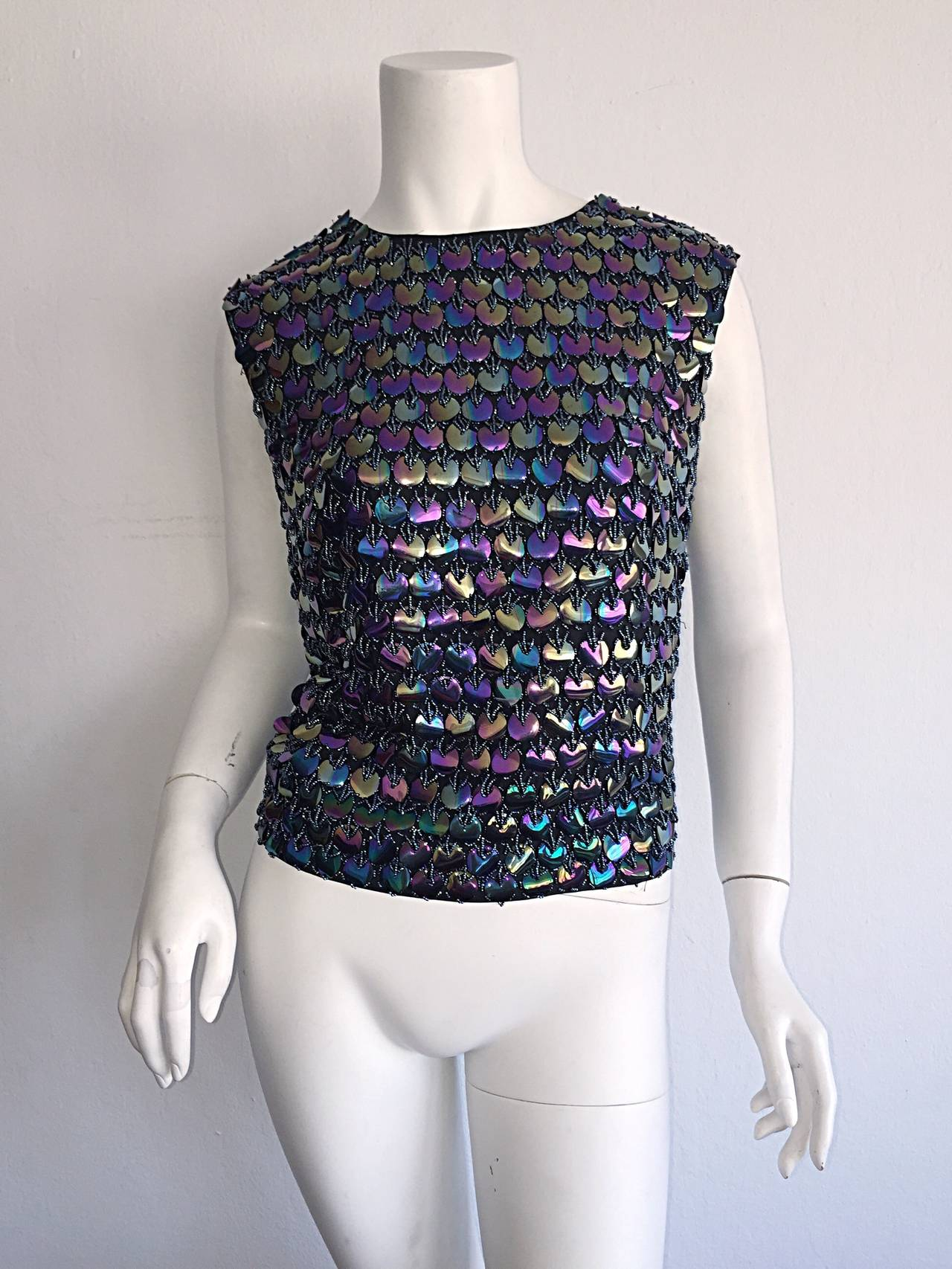 Fabulous 1950s Gene Shelly's Fully Beaded Iridescent Paillettes Silk Blouse Top For Sale 2