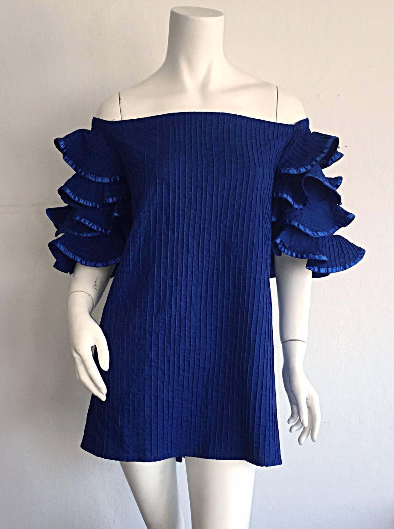 Vintage Tachi Castillo Blue Cotton Ruffle Prairie Tiered Sleeves Mexican Blouse 2