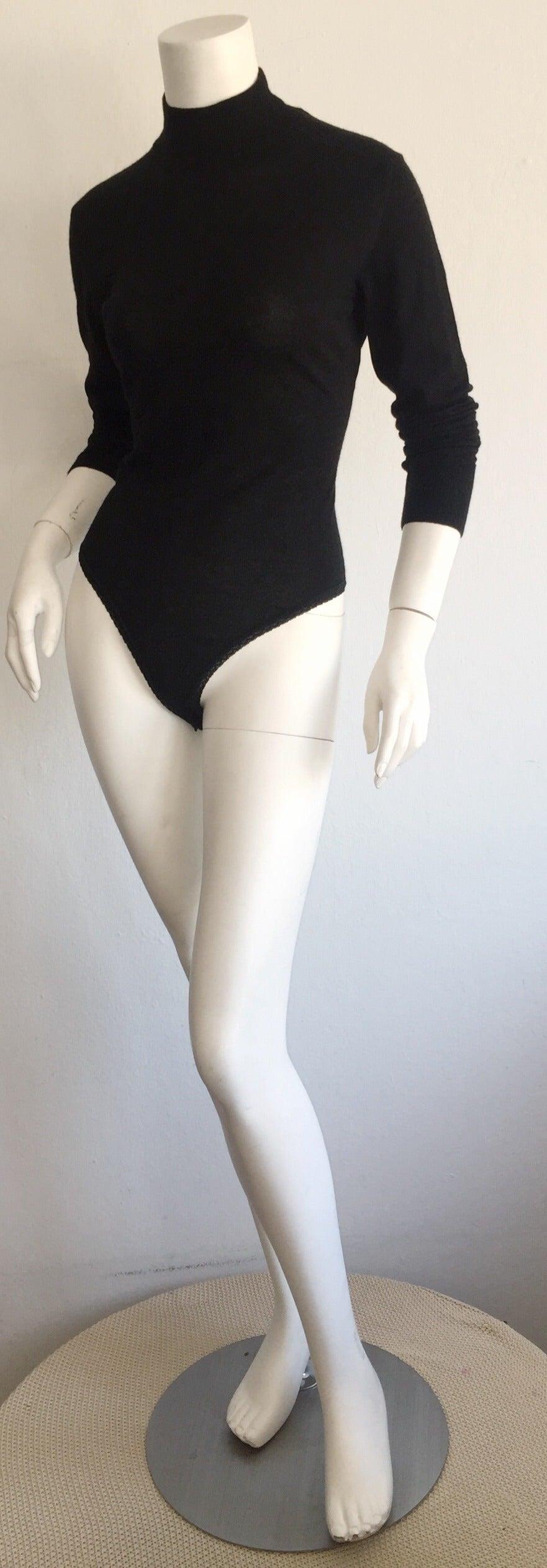 Sexy Vintage Donna Karan Black Cashmere Bodysuit / Onesie In Excellent Condition For Sale In San Francisco, CA
