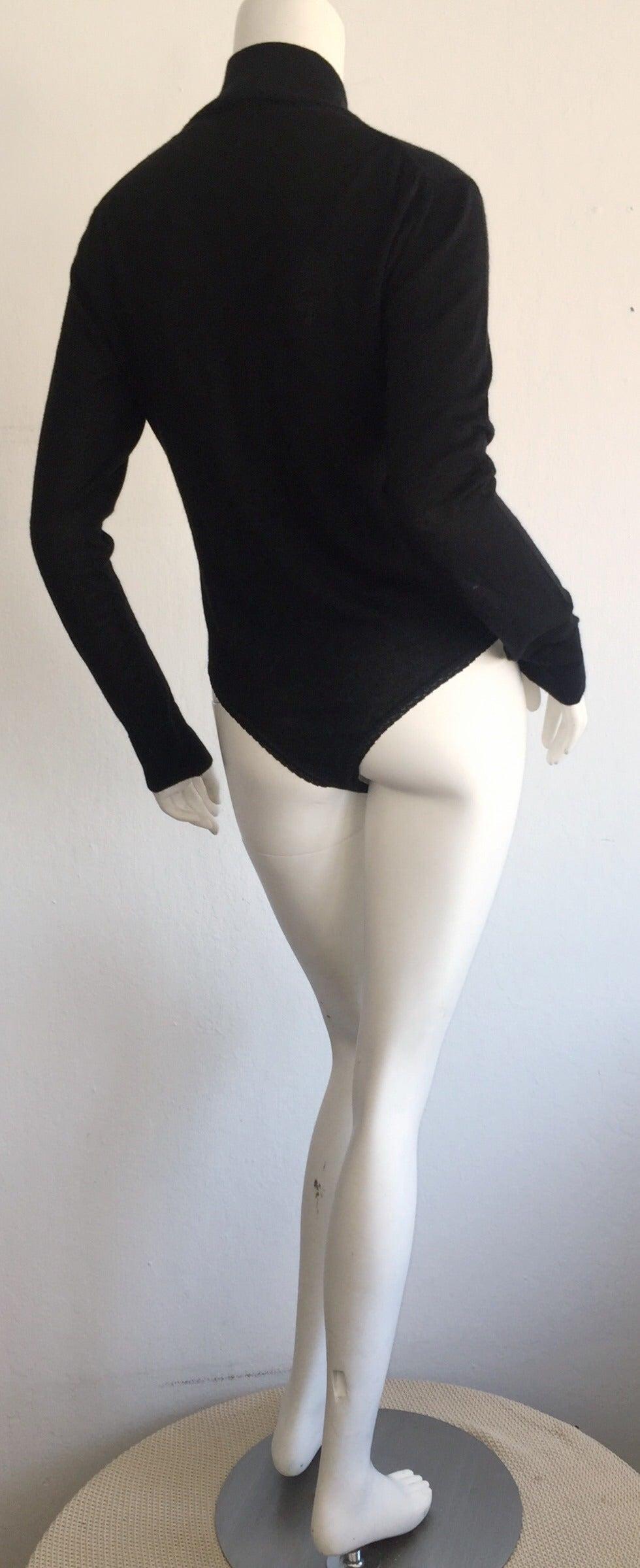 Women's Sexy Vintage Donna Karan Black Cashmere Bodysuit / Onesie For Sale