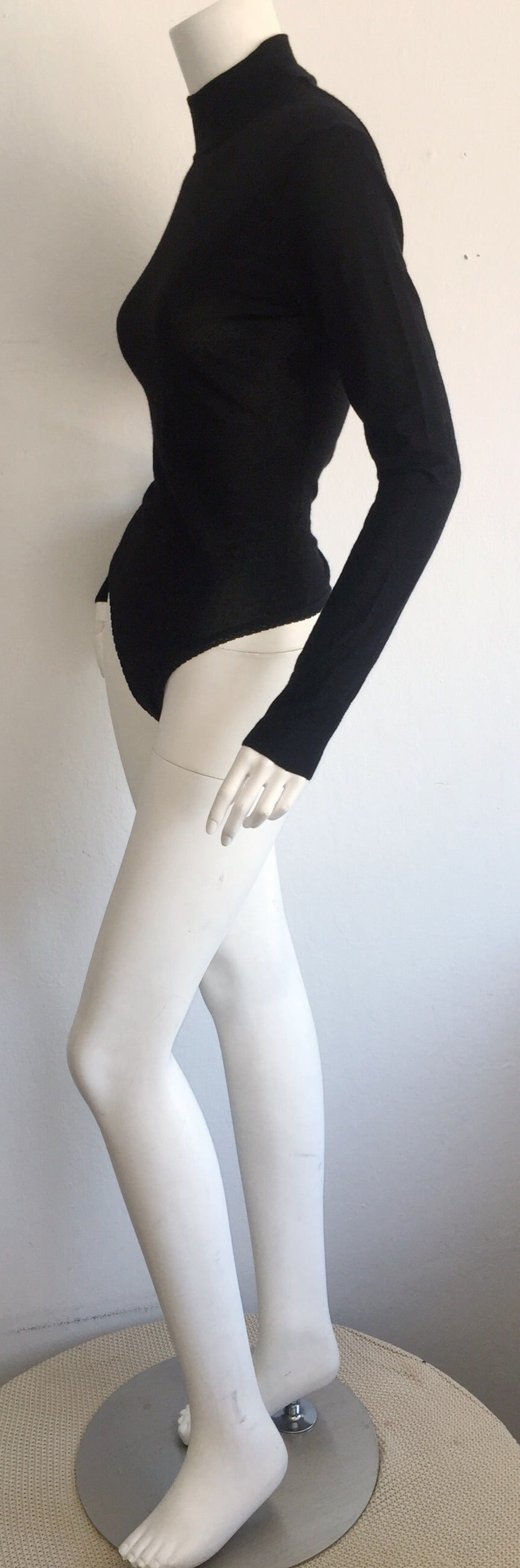 Sexy Vintage Donna Karan Black Cashmere Bodysuit / Onesie For Sale 1