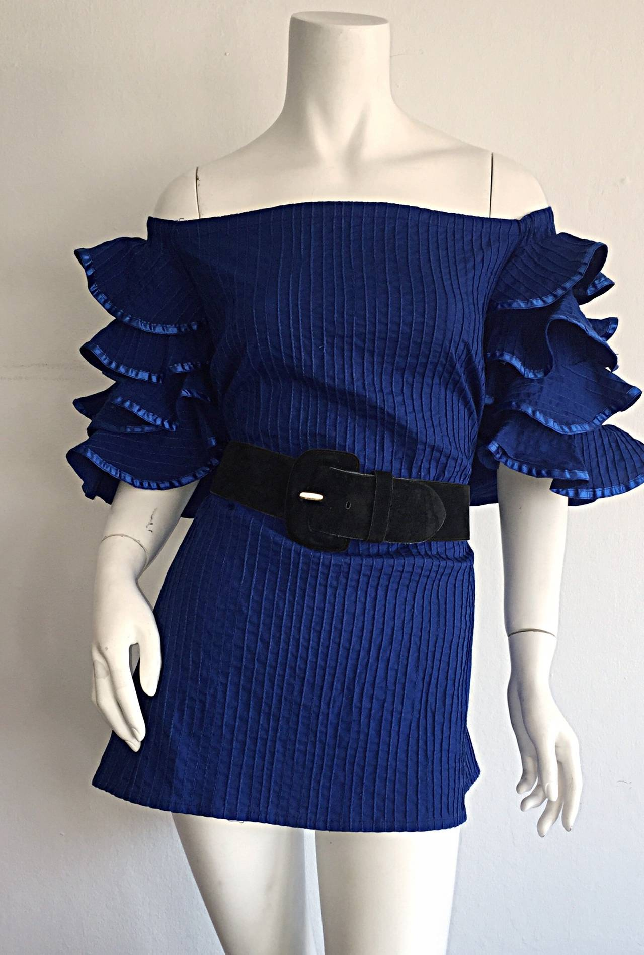 Purple Vintage Tachi Castillo Blue Cotton Ruffle Prairie Tiered Sleeves Mexican Blouse For Sale