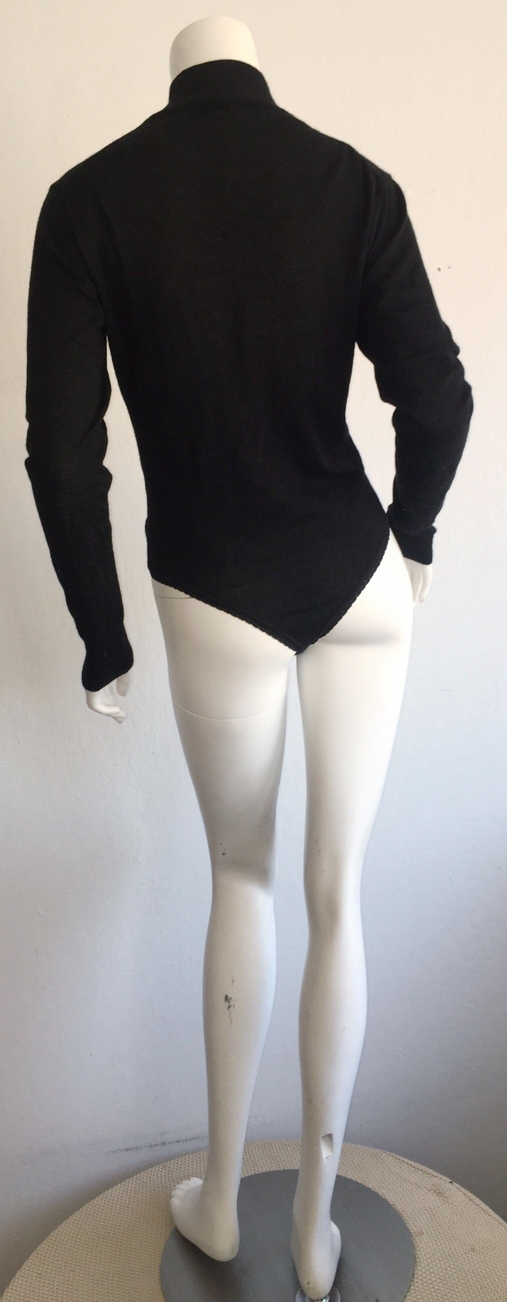 Sexy Vintage Donna Karan Black Cashmere Bodysuit / Onesie For Sale 3