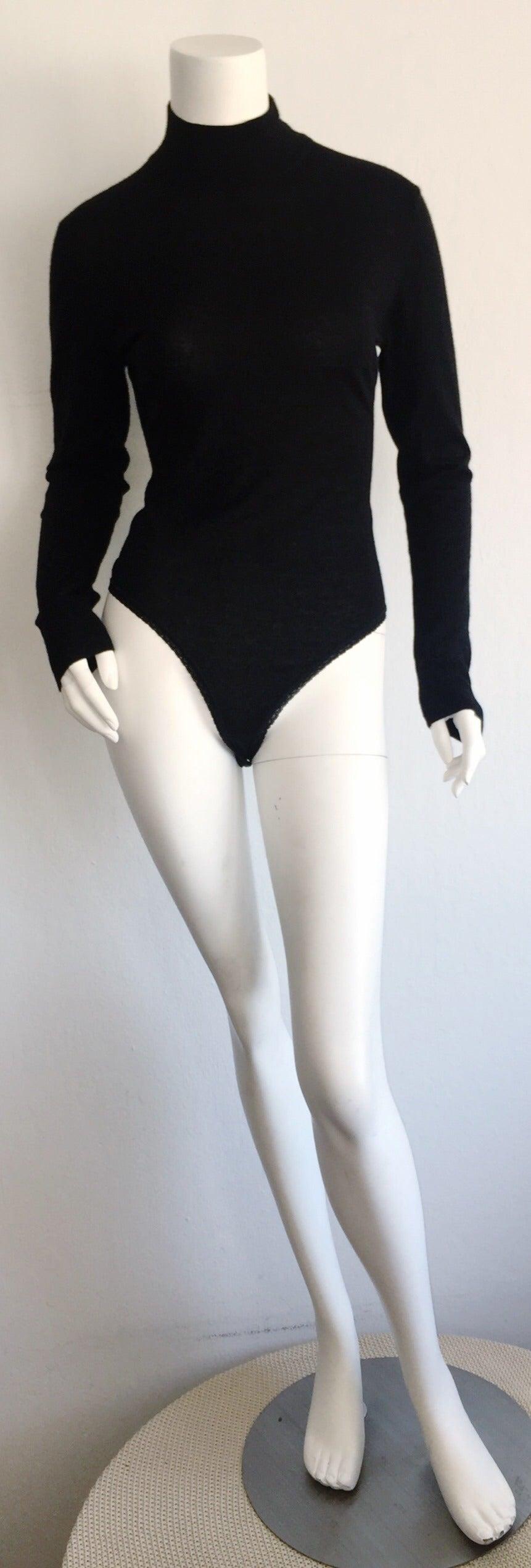 Sexy Vintage Donna Karan Black Cashmere Bodysuit / Onesie For Sale 4