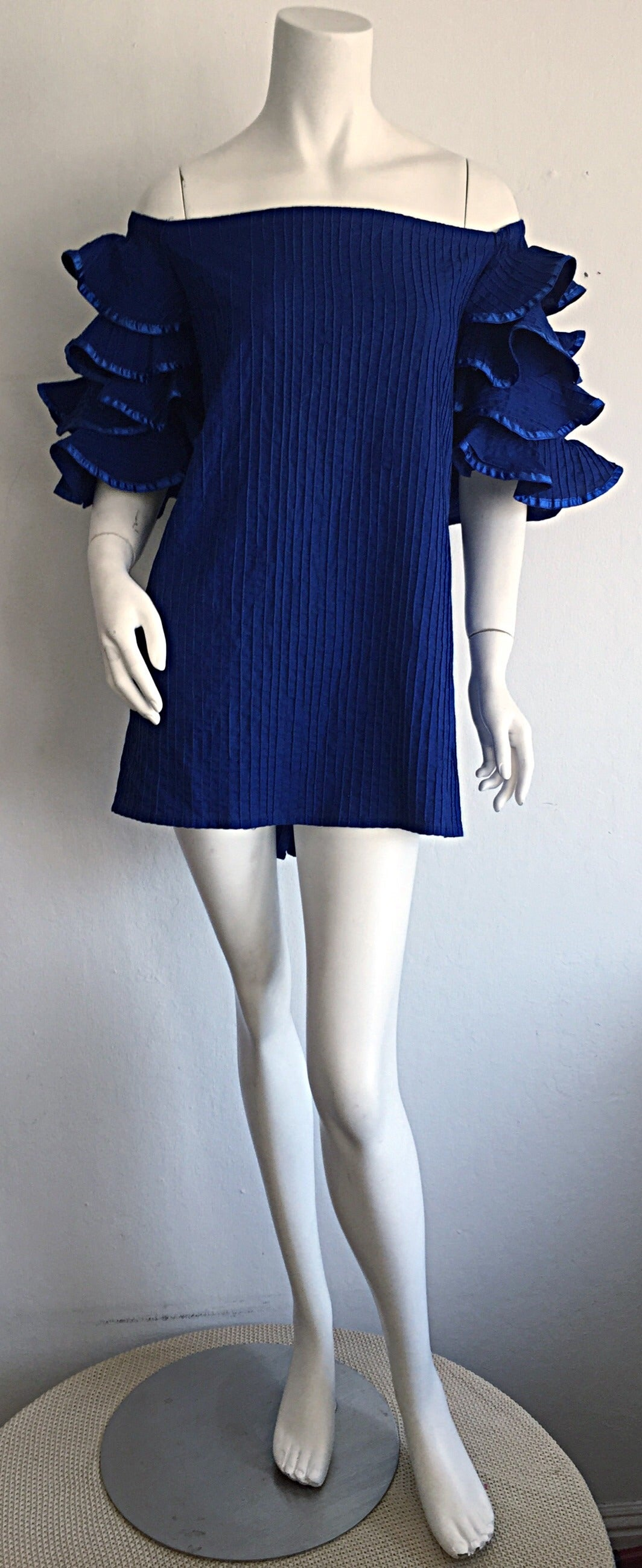 Vintage Tachi Castillo Blue Cotton Ruffle Prairie Tiered Sleeves Mexican Blouse For Sale 2