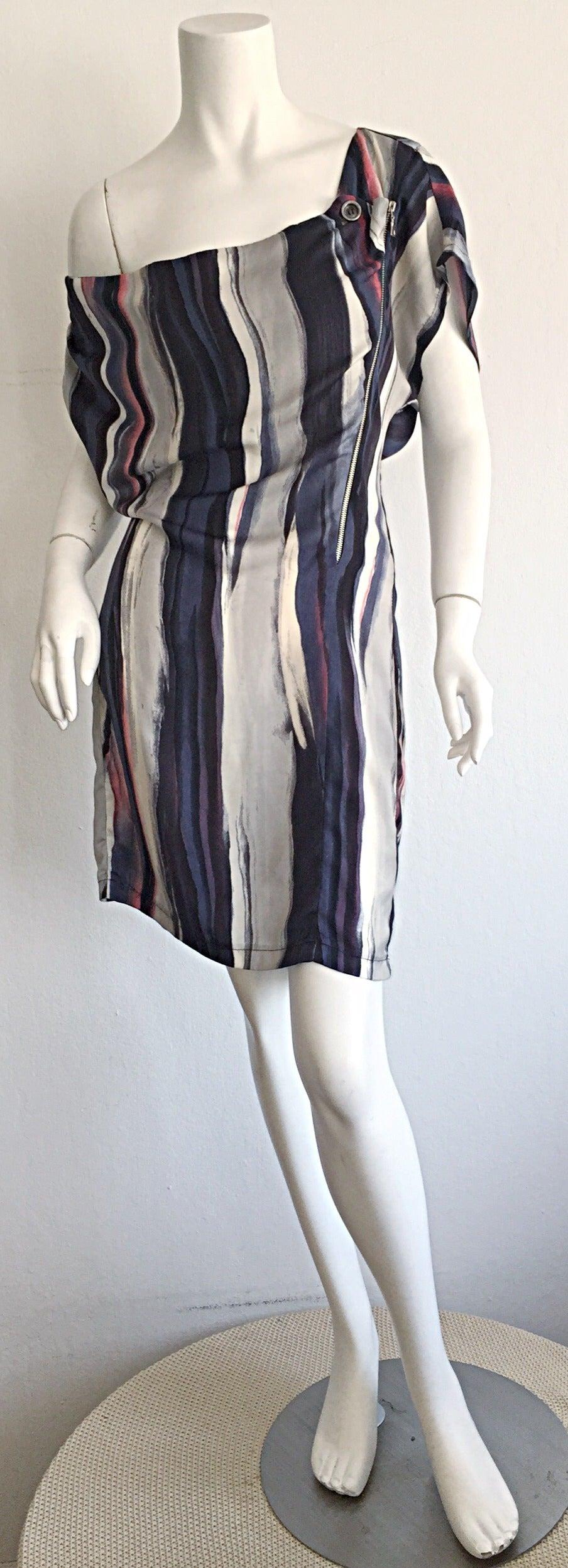 Maeva Striped Watercolor Zipper Dress Made In Italy Hard