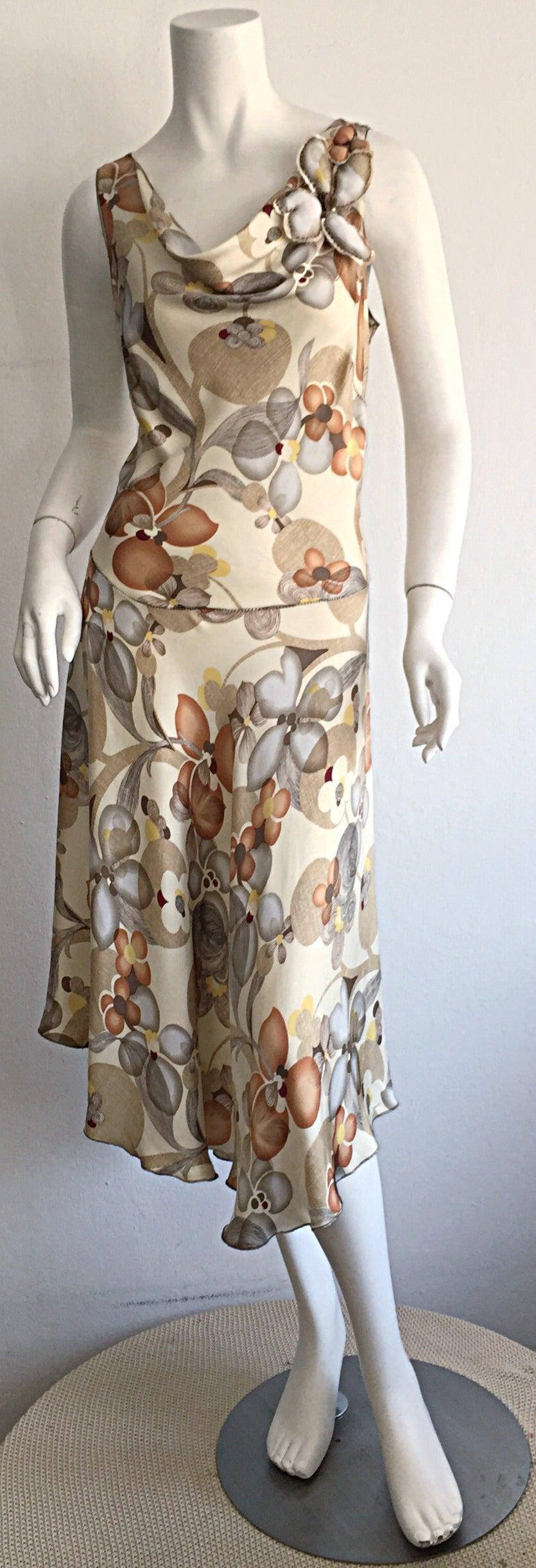 Pretty Silk Dress By Rozae Nichols Gorgeous Neutral Hues With A Unique Fl