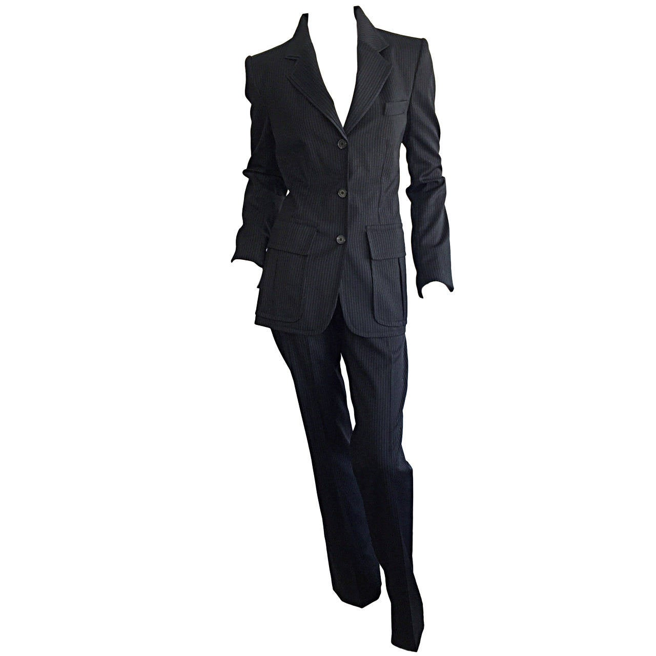 Tom Ford for Yves Saint Laurent Black + White Pinstripe Le Smoking Trouser Suit For Sale