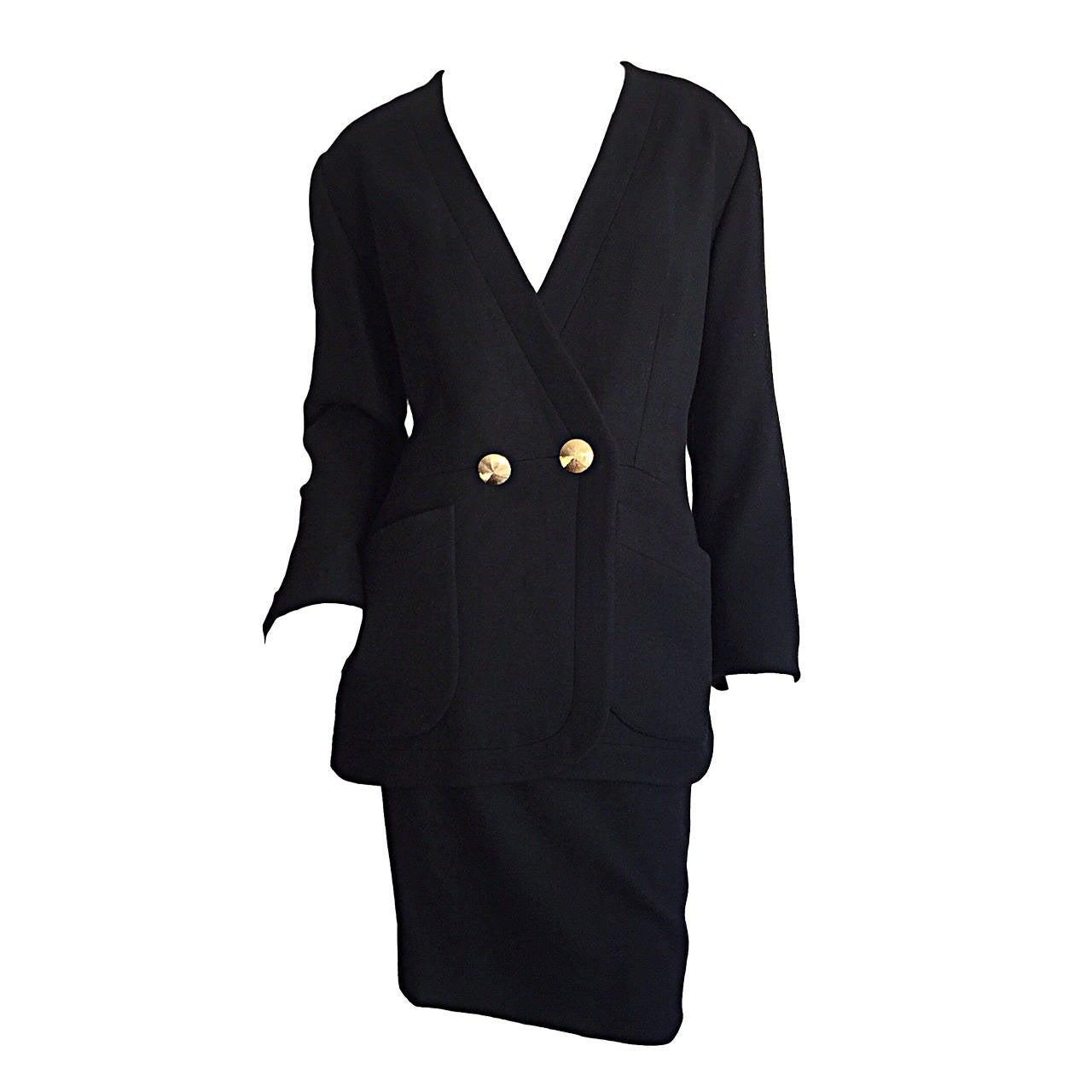 Vintage Yves Saint Laurent ' Rive Gauche ' Black Skirt Suit Size 44 YSL