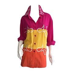 1990s Diane Von Furstenberg Western Inspired Silk Color Block Paisley Blouse DVF