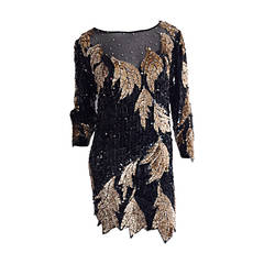 Stunning Vintage Oleg Cassini All Over Black + Gold Sequin Silk Dress
