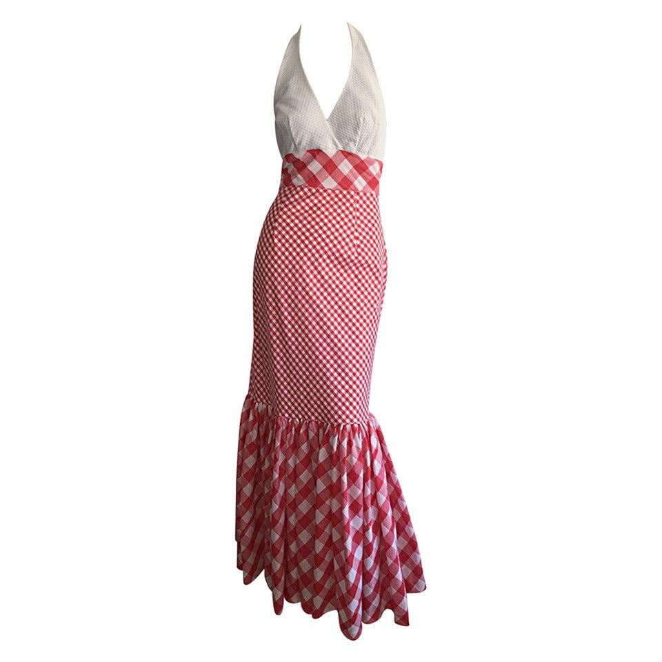 Vintage 1970s Red + White ' Picnic Table ' Plaid Cotton Halter Maxi Dress 1