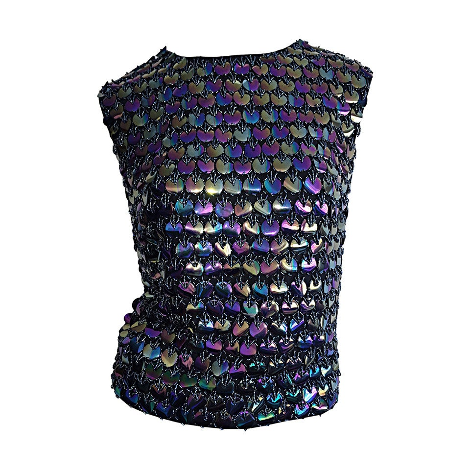Fabulous 1950s Gene Shelly's Fully Beaded Iridescent Paillettes Silk Blouse Top For Sale