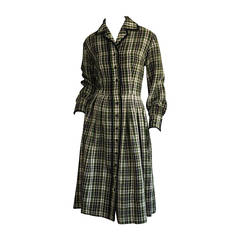 Chic 1950s Vintage Henri Bendel Pret a Porter Green Tartan Plaid Wool Dress