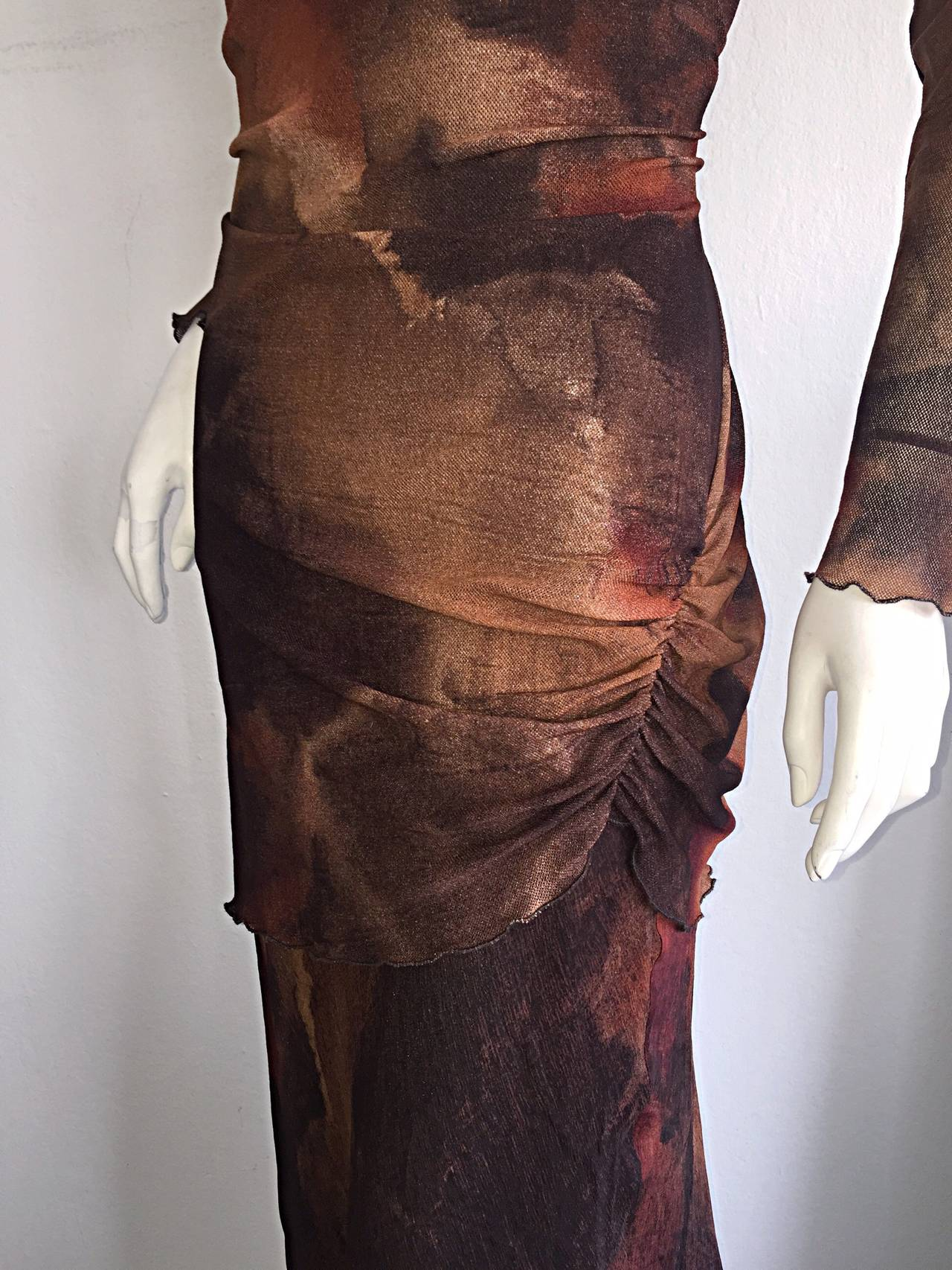 Vintage Beppe Bondi Autumnal Silk Watercolor Long Sleeve Dress / Made in Italy 3