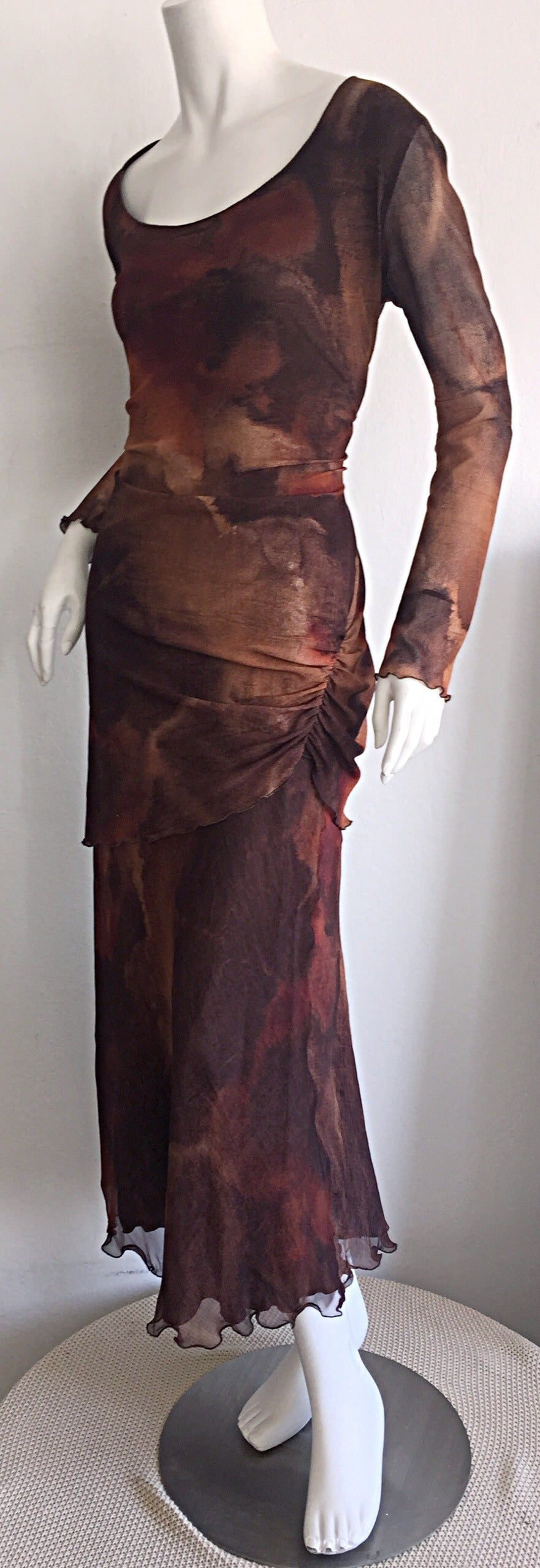 Vintage Beppe Bondi Autumnal Silk Watercolor Long Sleeve Dress / Made in Italy 4